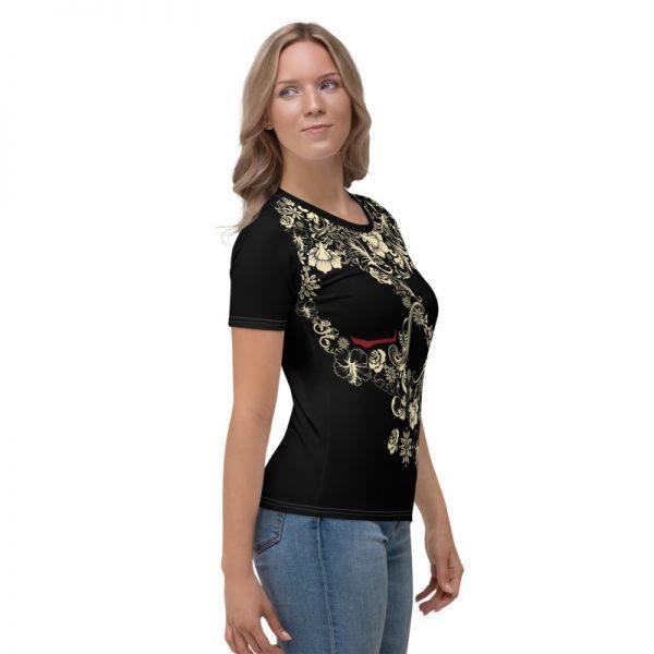 Lady wearing Flower skull design t-shirt
