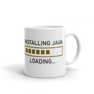 Installing java loading progress coffee mug