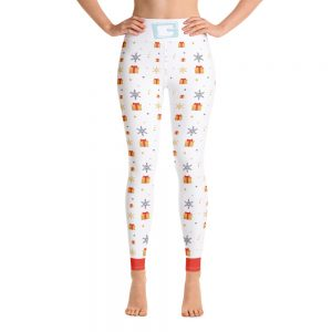 Holiday Christmas Gifts and Snow Flakes Yoga Leggings