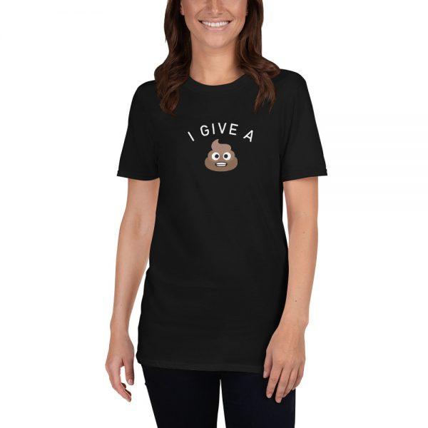 Girl wearing I Give A Shit emoji Short-Sleeve T-Shirt